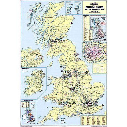 British Isle Map Unframed 12.5 Miles/inch Scale Map Marketing UKM ...