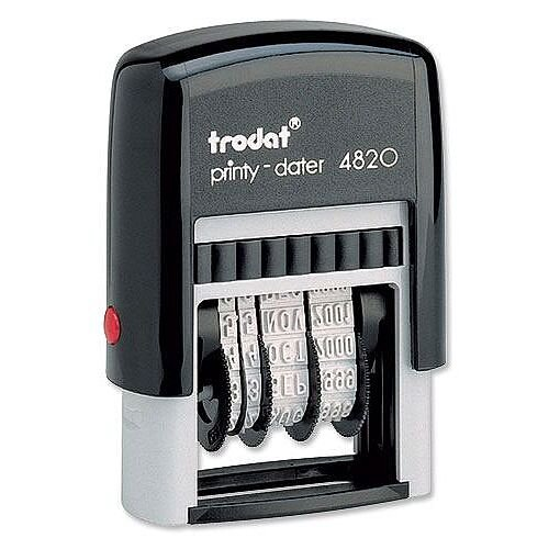 Trodat Printy Dater 4820 Stamp Black Refillable 3.8mm
