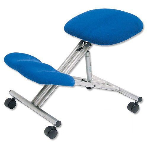 Kneeling Chair With Height &Angle Adjustment Steel Framed Blue Trexus