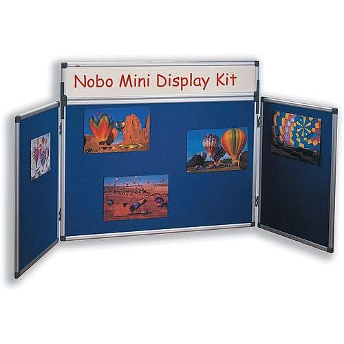 Nobo Table Top Display Panels Blue Central Panel W900 x H600mm Other Two Panels W450 x H600mm 35232027