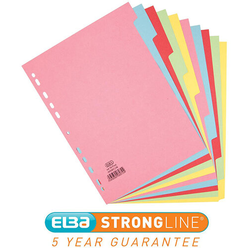 Elba A4 Card Dividers Europunched 10-Part Assorted Single - Offer 3 for 2 Jan - Dec 2020 Ref 400007246-XX
