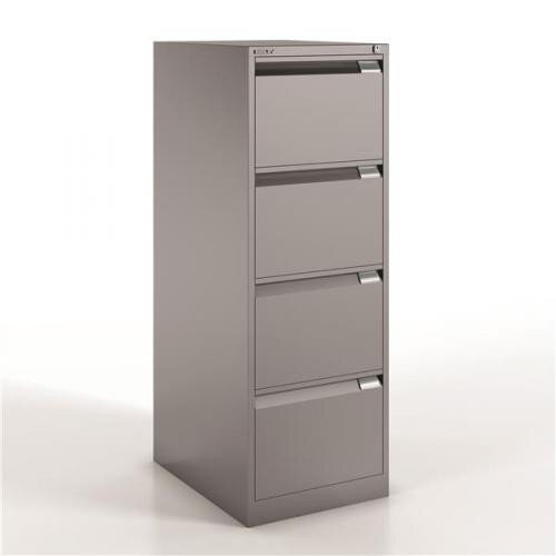 4 Drawer Steel Filing Cabinet Flush Front Goose Grey Bisley BS4E