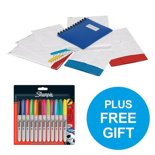 Tyvek Envelope C4 324x229mm 55g/m2 Peal and Seal White Pack of 100 + FREE Marker Pens Oct-Dec 2018 Ref 11782-Q4 Promo