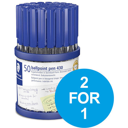 Staedtler Stick 430 Ball Pen 1.0mm Tip 0.35mm Line Blu Ref 430M3CP50TH Pack of 50 (2 for 1) Oct-Dec 2019