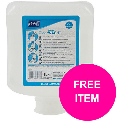 DEB Clear Foaming Hand Soap Refill Cartridge 1 Litre Ref N03869&OC Mr Soapy (Free Dispenser)
