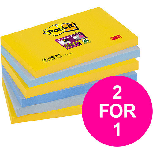 Post-it Super Sticky Notes New York 76x127mm Ref 655-6SS-NY Pack 6 (2 for 1) Jan-Mar 20