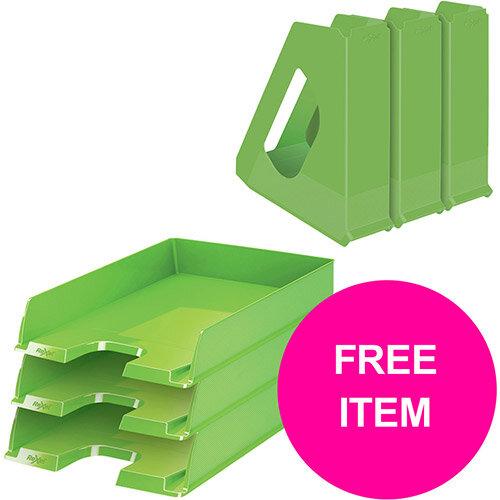 Rexel Choices Letter Trays A4 x3 &Mag Files x3 PP Green (Bundle Offer &FREE Matador Stapler) Jan-Mar 20