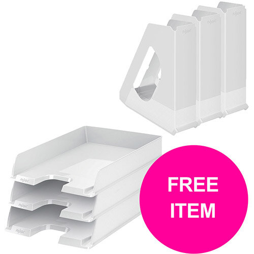 Rexel Choices Letter Trays A4 x3 &Mag Files x3 PP White (Bundle Offer &FREE Matador Stapler) Jan-Mar 20