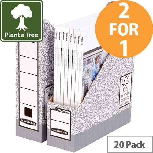 Bankers Box by Fellowes Magazine File Gry/White Ref 0186004 Pack of 10 (2 for 1) Jan-Mar 20