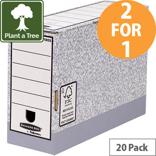 Bankers Box by Fellowes System Transfer Box Files Gry/White Ref 1180501 Pack of 10 (2 for 1) Jan-Mar 20