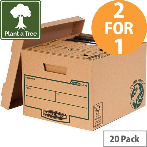 Bankers Box Earth Series by Fellowes Std Storage Boxes Brown Ref 4470601 Pack of 10 (2 for 1) Jan-Mar 20