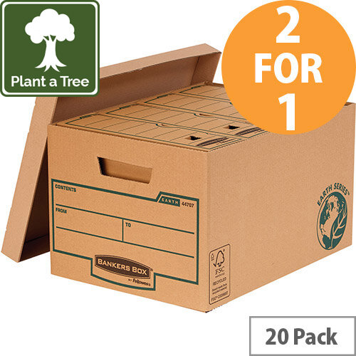 Bankers Box Earth Series by Fellowes Large Storage Boxes Brown Ref 4470709 Pack of 10 (2 for 1) Jan-Mar 20