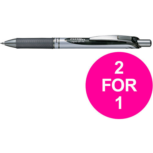 Pentel EnerGel XM Retractable Black 0.7mm Ref BL77A Pack of 12 (2 for 1) Jan-Mar 2020