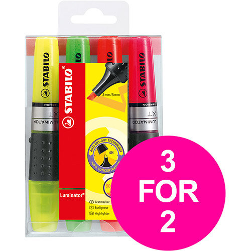Stabilo Luminator Highlighter Assorted Ref 71/4 Pack of 4 (3 for 2) Jan-Mar 2020