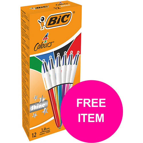 Bic 4 Colours Shine Ballpoint Pen Medium Assorted Ref 964775 Pack of 12 (FREE Post It Notes) Jan-Mar 2020