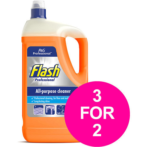 Flash Prof All Purpose Cleaner for Washable Surface 5 Litre Citrus Fragrance Ref 76099 (3 for 2) Jan 2020