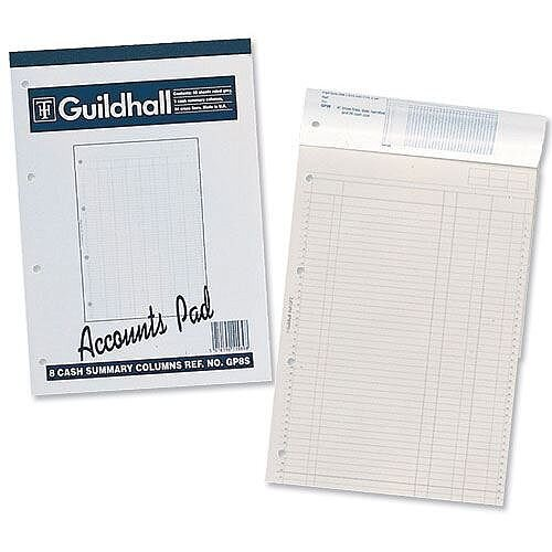 Guildhall Account Pad 8 Cash Column Ruled 54 Feint Summary 60 Leaf A4 GP8S