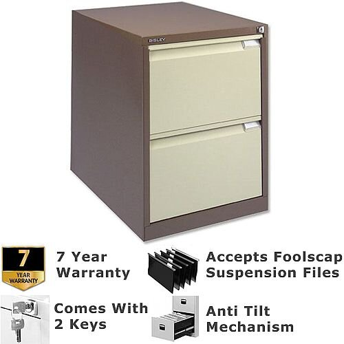 2 Drawer Steel Filing Cabinet Flush Front Brown &Cream Bisley BS2E