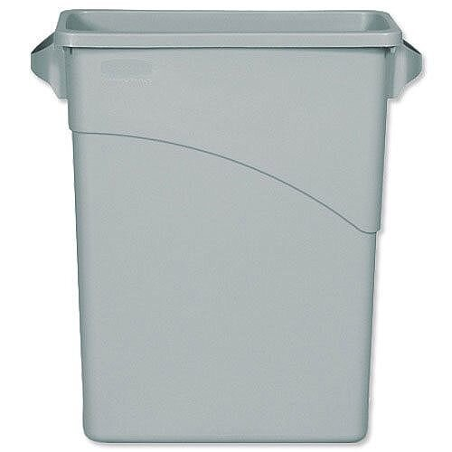 Rubbermaid Slim Jim Recycling Grey Container Bin 60L - Space-saving waste container - Slim shape and size to fit tight spaces - Resists chipping and peeling
