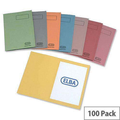 Elba Orange Square Cut Folder A4 Pack 100