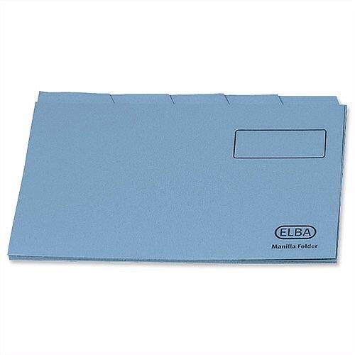 Elba Foolscap Tabbed Folder Blue 20613 Pack 100