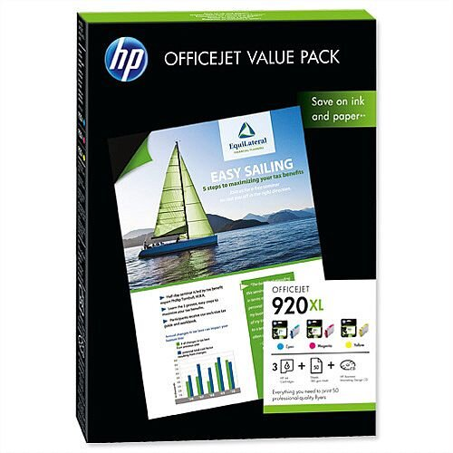 HP 920XL Officejet Value Pack 3 Inks and Paper CH081AE