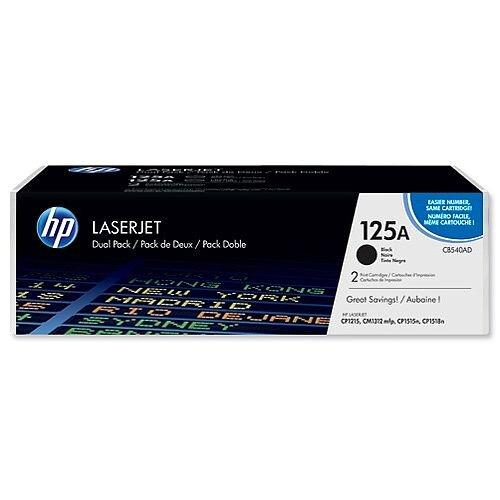 HP 125A Black Laser Toner Cartridge CB540AD Pack 2