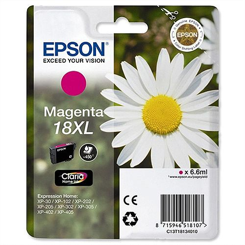 Epson 18XL Magenta Inkjet Cartridge Daisy High Capacity 6.6ml C13T18134010 C13T18134012
