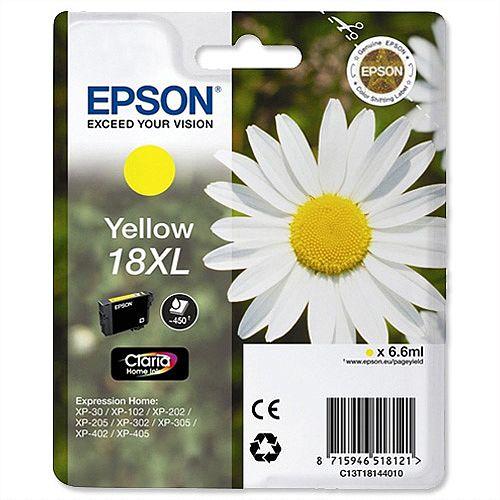 Epson 18XL Yellow Inkjet Cartridge Daisy High Capacity 6.6ml Yellow C13T18144010 C13T18144012