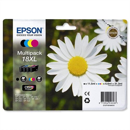 Epson 18XL Inkjet Cartridges High Capacity 31.3ml Black Cyan Magenta Yellow C13T18164010 Pack 4 C13T18164012