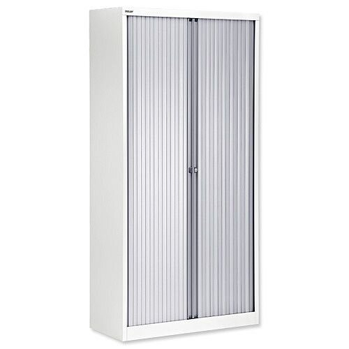 Bisley A4 EuroTambour Including 4 Shelves W1000xD430xH1980mm Silver Shutters White Frame