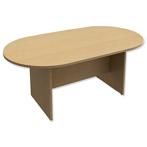 D-End Oak Boardroom Table 1800mm Wide With Panel End Base