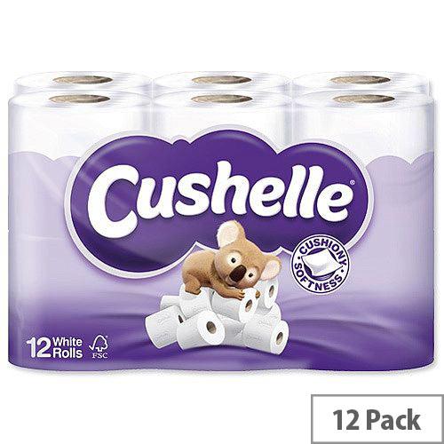 Cushelle Toilet Tissue Paper Rolls 2-Ply 180 Sheets White Pack of 12 Toilet Paper Rolls