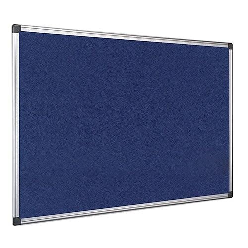 Bi-Office Notice Board Fire Retardant Fabric Alumimium Frame 1200 x 900mm Blue Ref SA0501170