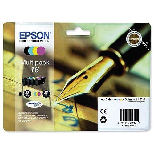 Epson 16 Inkjet Cartridge Pen &Crossword 4 Colour Multipack - Black, Cyan, Magenta, Yellow - T16264010 C13T16264012
