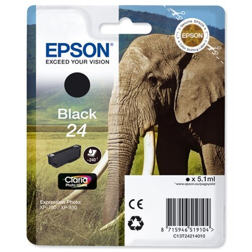 Epson 24 (T2421) Black Inkjet Cartridge Capacity 5.1ml Page Life 240pp Ref T24214010 C13T24214012