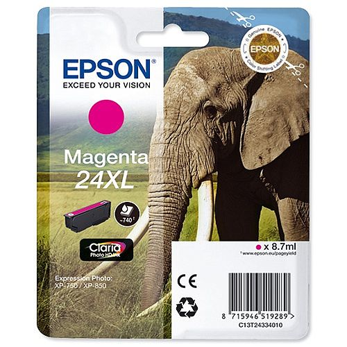 Epson Elephant 24XL Magenta Ink Cartridge Page Life 740pp C13T24334012