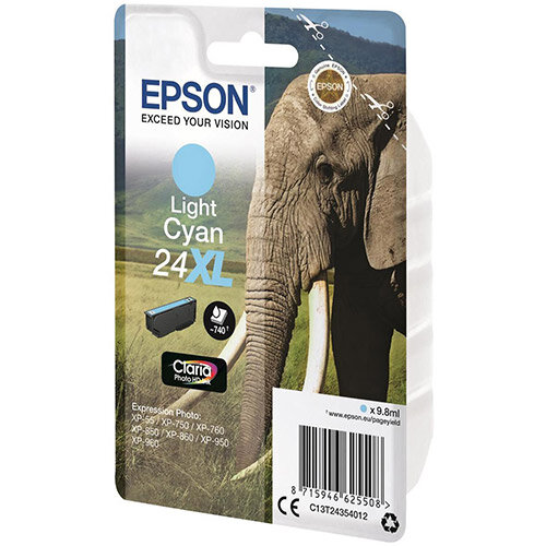 Epson Elephant 24XL Light Cyan High Capacity Ink Cartridge Page Life 740pp C13T24354012 - for Epson Expression Photo: XP-750 / XP-850