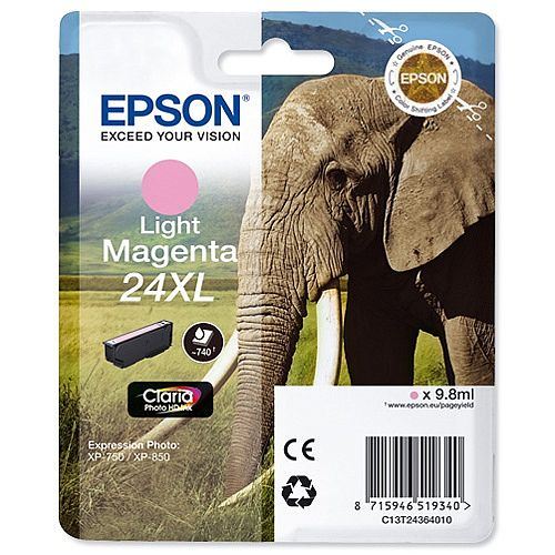 Epson Elephant 24XL Light Magenta High Capacity Yield Ink Cartridge Page Life 740pp C13T24364012 -  for Epson Expression Photo: XP-750 / XP-850