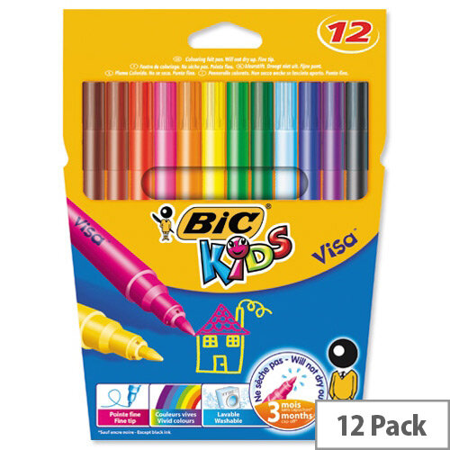 Bic Kids Visa Felt Tip Pens Washable Fine Tip Assorted Pack 12