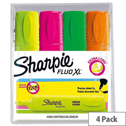 Sharpie Fluo XL Highlighter Chisel Tip 3 Widths Assorted Ref 1825663 [Pack 4]