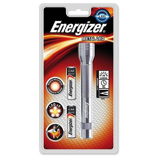 Energizer Metal LED Torch 2xAA Batteries FL1 Ref 634041