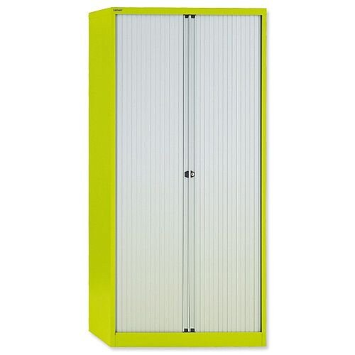 Bisley GLO Tambour Cupboard Steel Side-opening H1968mm Green Ref AST78W Lime