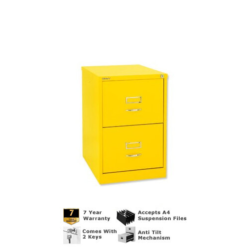 Bisley GLO Filing Cabinet 2-Drawer Yellow Lemon Ref BS2C