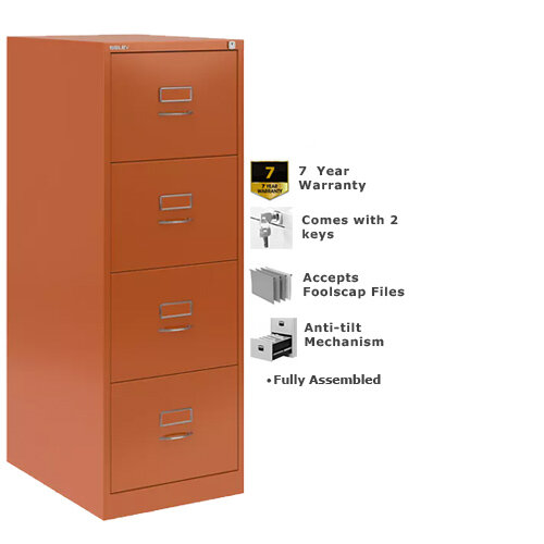 Bisley GLO Filing Cabinet 4-Drawer Orange Ref BS4C