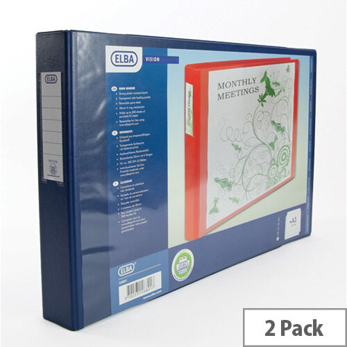 Elba Vision Ring Binder PVC Front Pocket 2 O-Ring A3 Landscape Blue Ref 100082460 [Pack 2]