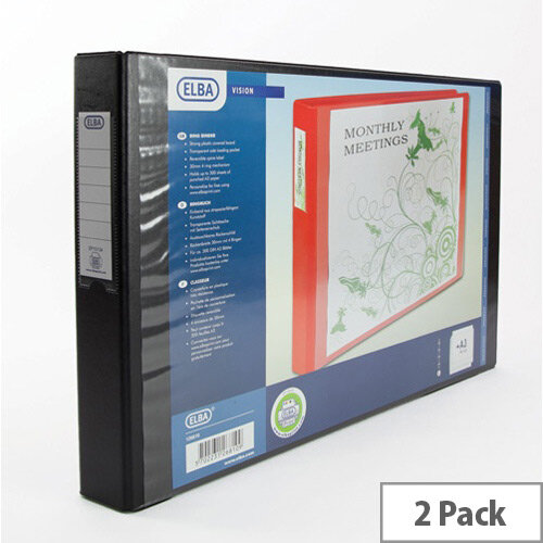 Elba Vision Ring Binder PVC Front Pocket 4 O-Ring A3 Landscape Black Ref 100082459 [Pack 2]