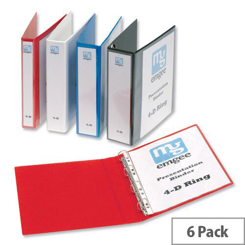 Elba Presentation A4 Ring Binder 40mm Capacity White 4 D-Ring 560320 Pack 6