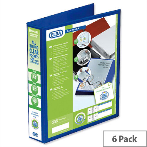 Elba Presentation A4 Ring Binder 40mm Capacity Blue 4 D-Ring 560322 Pack 6