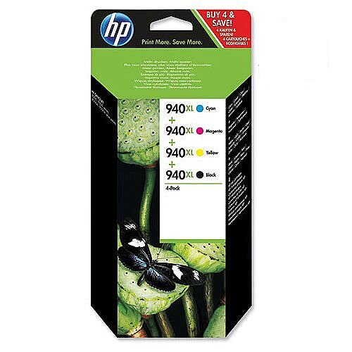 HP 940XL High Yield 4 Colour Combo Pack Ink Cartridge Cyan Magenta Yellow Black C2N93AE